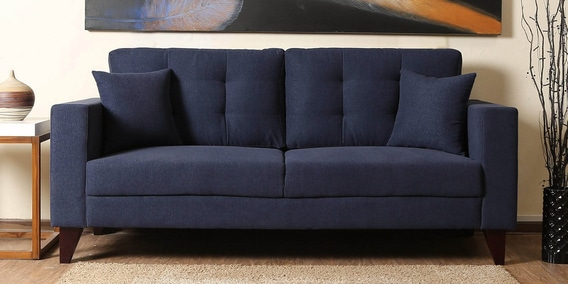 Alfredo Three Seater Sofa in Navy Blue Colour by CasaCraft