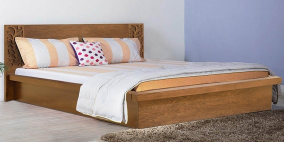 Alhambra Queen Size Bed With Box Storage In Amelia Oak Finish By CasaCraft