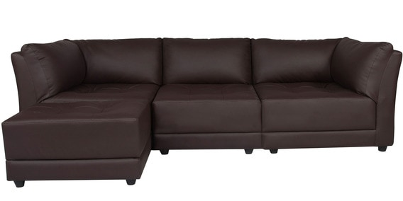 Alia Deep Comfortable Rhs Sofa With Ottoman In Brown Leatherette By Furny