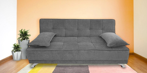 Alto Fabric Sofa Cum Bed With Cushions In Grey Colour By Iris Furniture
