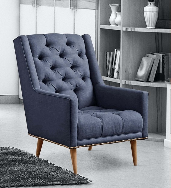 Buy Alicia Modern Chair In Blue Colour By Dreamzz Furniture Online Full Back Lounge Chairs Chairs Furniture Pepperfry Product