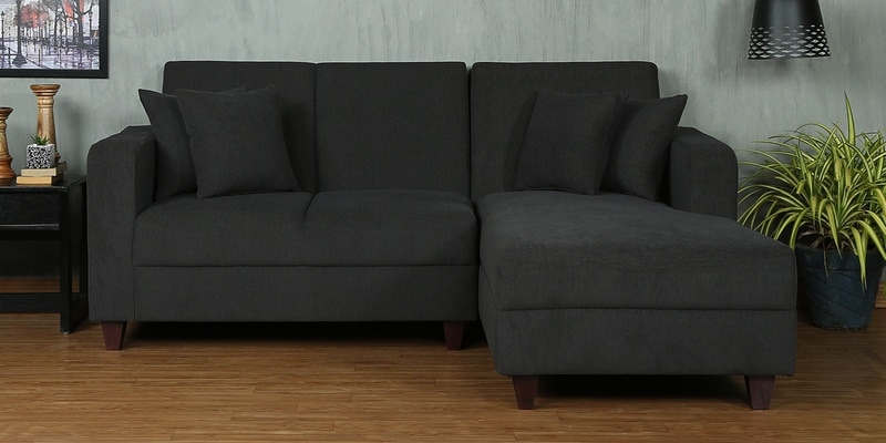 Alba LHS Two Seater Sofa with Lounger and Cushions in Charcoal Grey Colour by CasaCraft