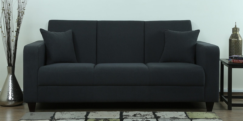 Alba Three Seater Sofa in Charcoal Grey Colour by CasaCraft
