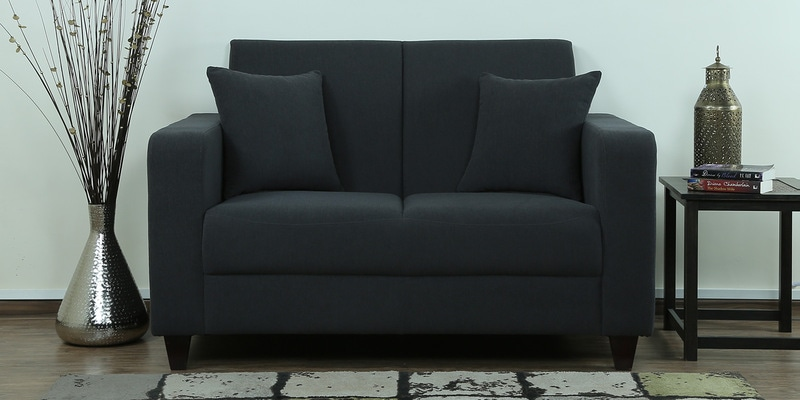 Alba Two Seater Sofa in Charcoal Grey Colour by CasaCraft
