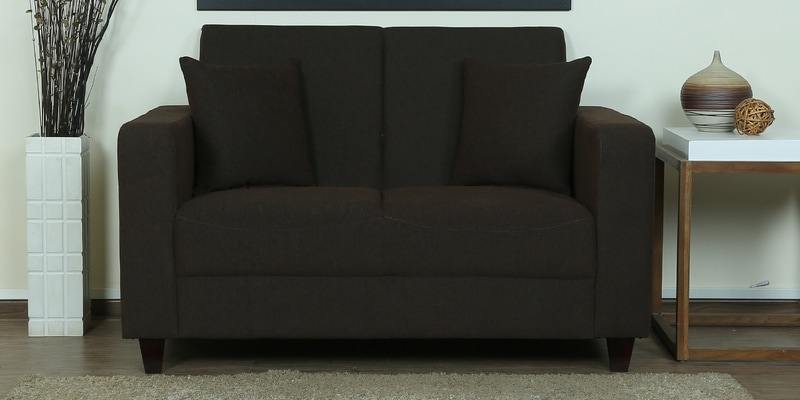 Alba Two Seater Sofa in Chestnut Brown Colour by CasaCraft