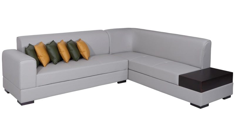 Buy Alden Lhs Sectional Sofa In Light Grey Leatherette By