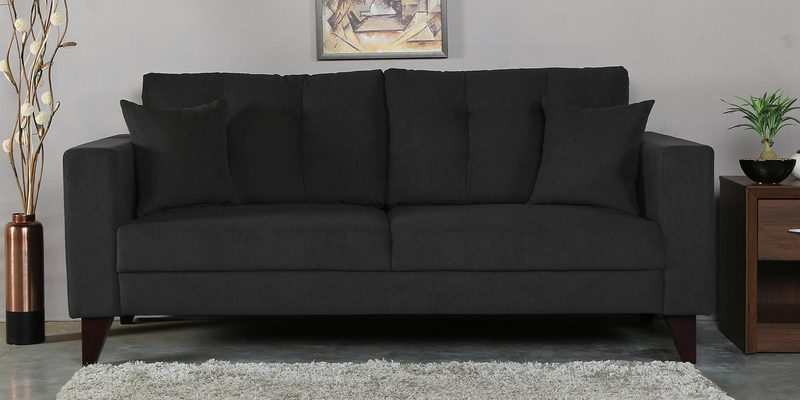 Alfredo Three Seater Sofa in Charcoal Grey Colour by CasaCraft