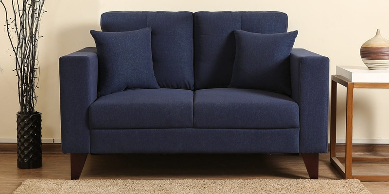 Alfredo Two Seater Sofa in Navy Blue Colour by CasaCraft