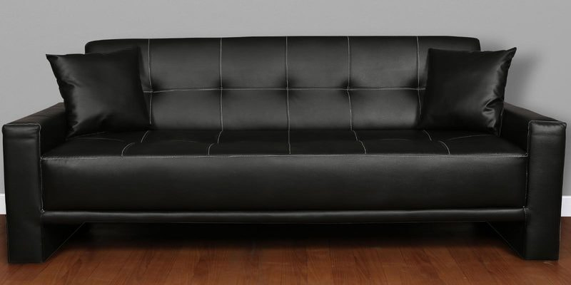Altiza King Sofa cum Bed in Black Leatherette by Cloud9
