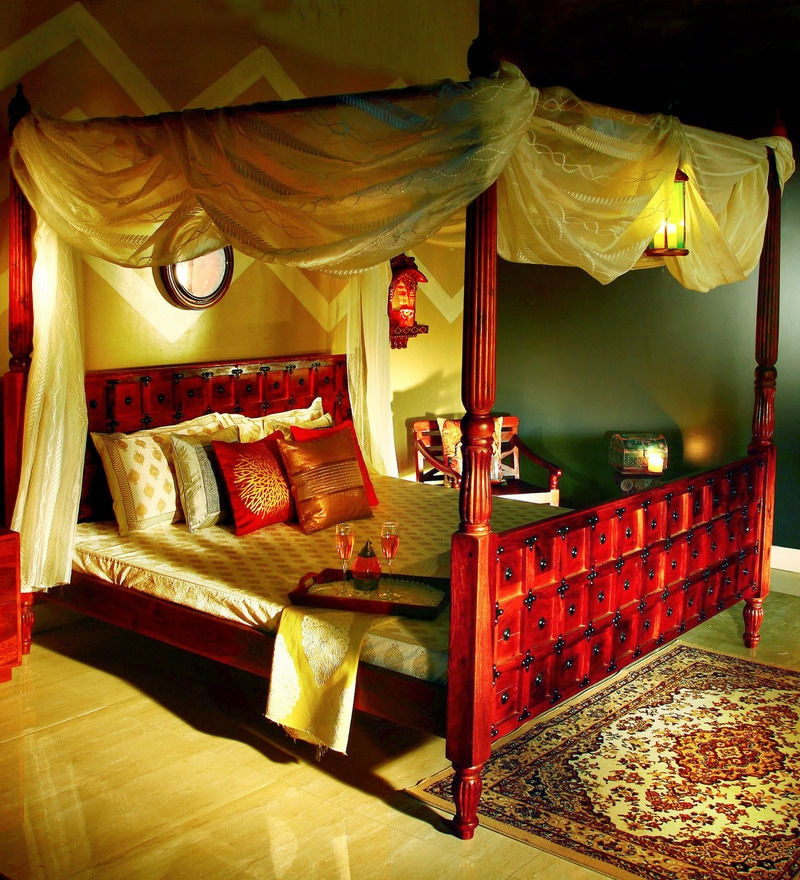 Alara Queen Size Poster Bed in Honey Oak Finish by Mudramark