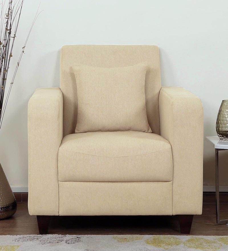 Alba One Seater Sofa in Beige Colour by CasaCraft