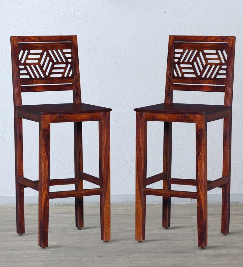 Alder Bar Chair (Set of two) in Honey Oak Finish by Woodsworth