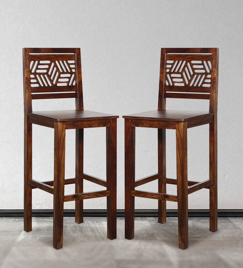 Alder Bar Chair (Set of two) in Provincial Teak Finish by Woodsworth