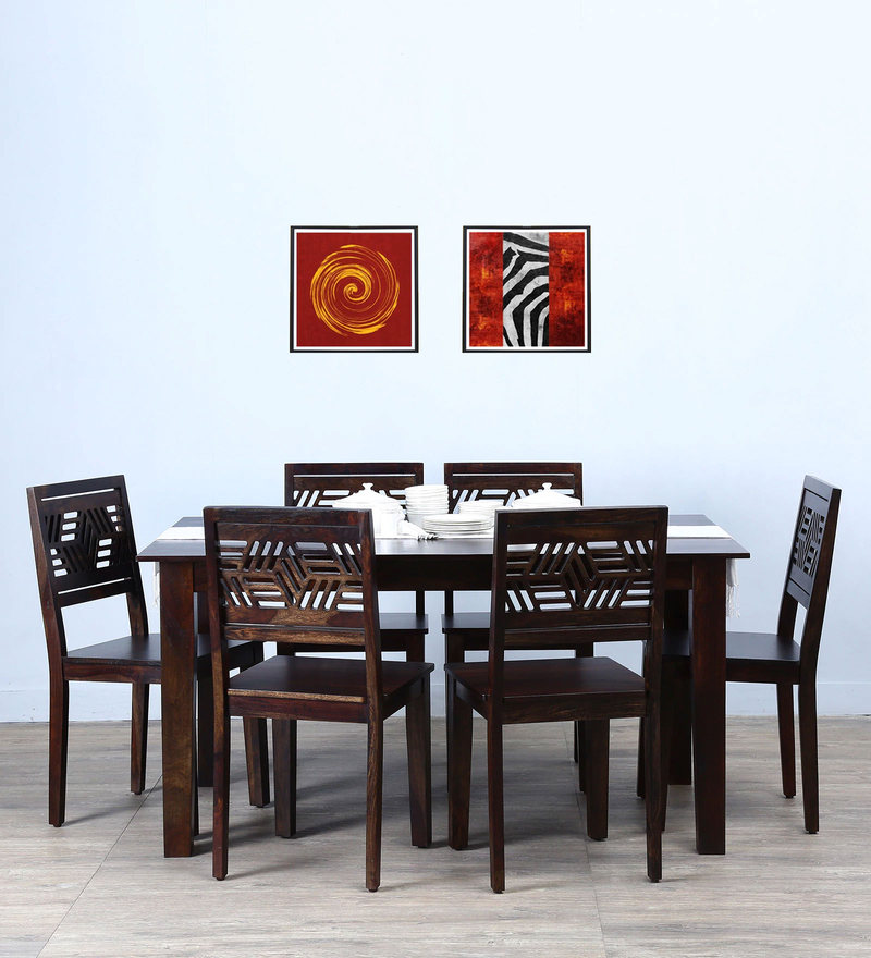Alder Six Seater Dining Set in Warm Chestnut Finish by Woodsworth