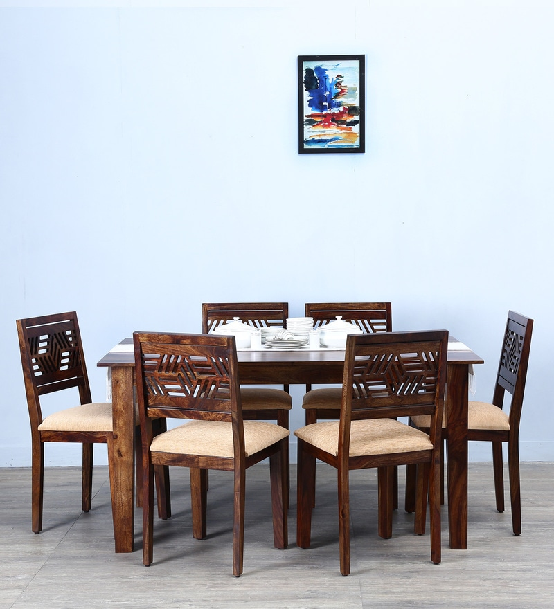 Alder Six Seater Cushioned Dining Set  in Provincial Teak Finish by Woodsworth