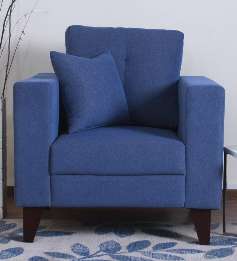 Alfredo One Seater Sofa in Denim Blue Colour by CasaCraft