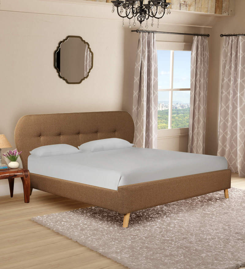 fe8c230dc57e16 Buy Aline Queen Size Bed in Sandy Brown Colour by CasaCraft Online ...
