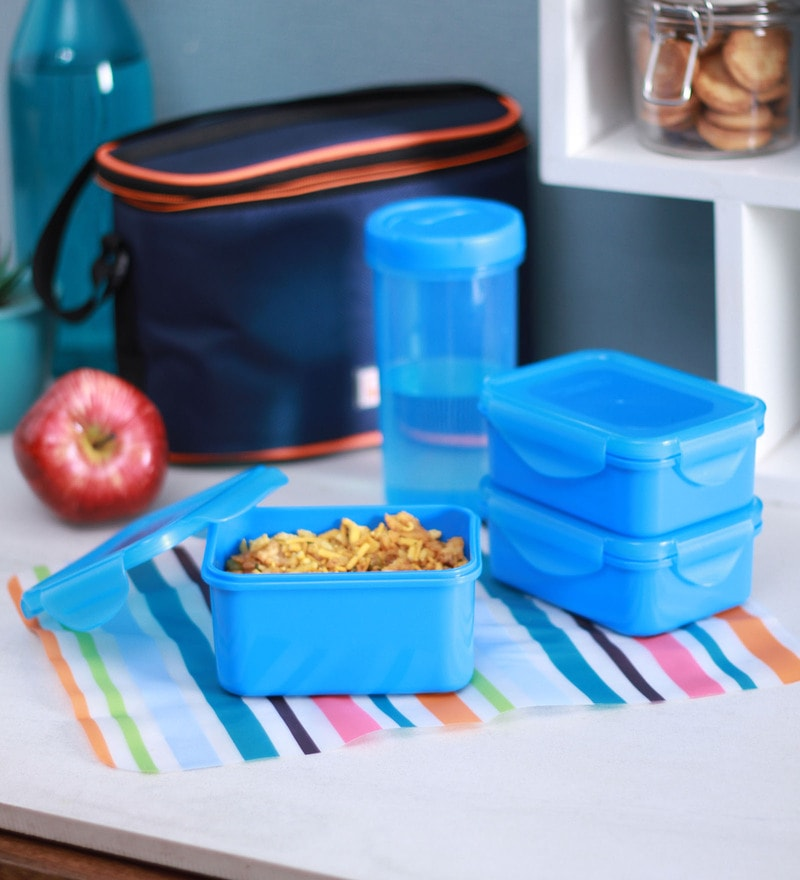 All Time 9401 Food Gear Blue Plastic Lunch Box - Set of 4