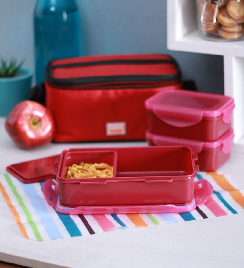 All Time 9402 Food Gear Pink Plastic Lunch Box - Set of 4
