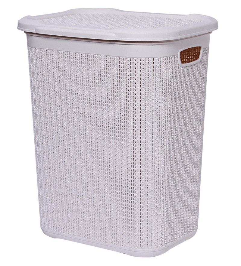 All Time Cresta Knit 50 Ltr Laundry Basket with Lid