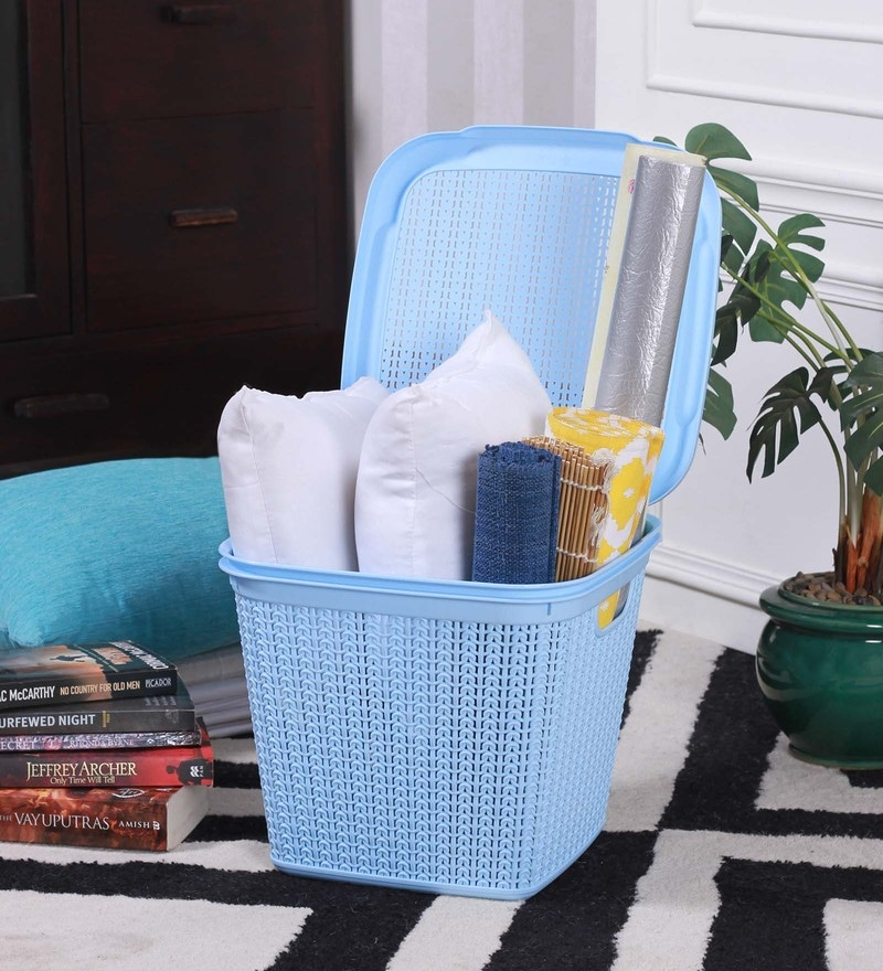 All Time Cresta Knit Plastic 15 L Pastel Blue Square Basket with Lid