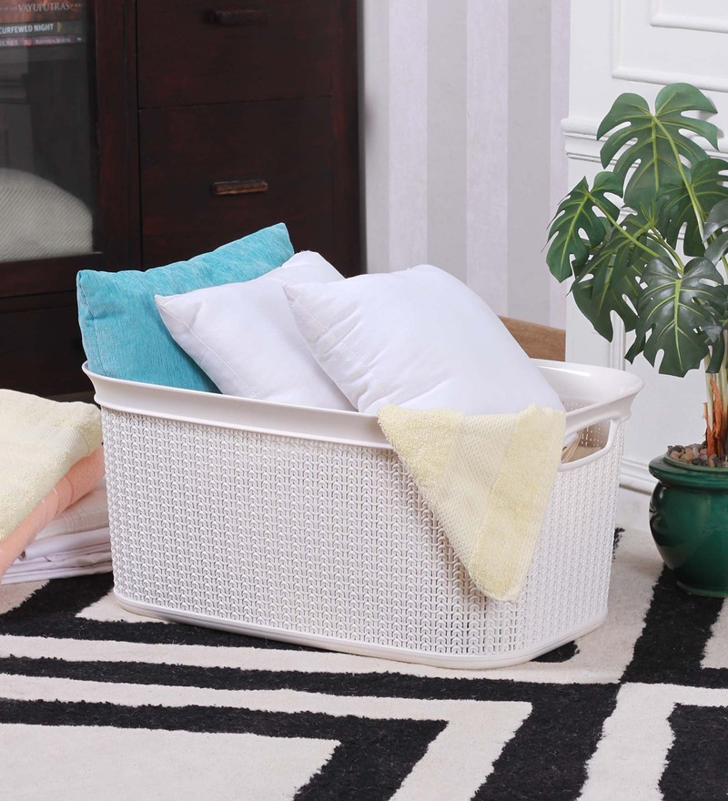 All Time Cresta Knit Plastic 38 L Cream Laundry Basket