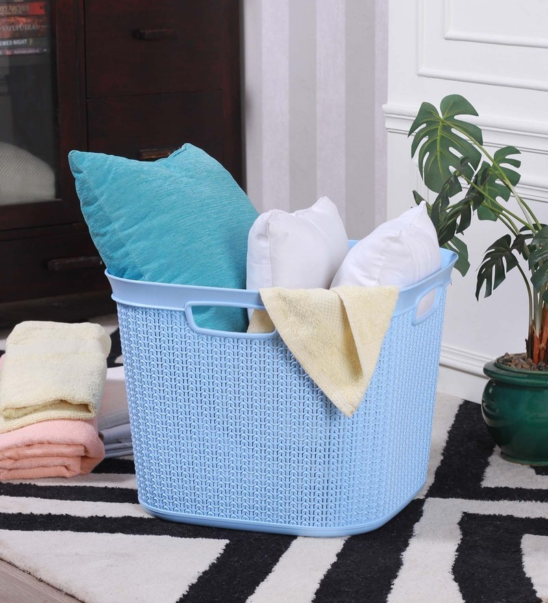 All Time Cresta Knit Plastic 41 L Pastel Blue Square Basket