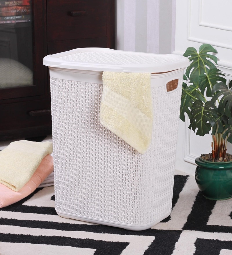 All Time Cresta Knit Plastic 50 L Cream Laundry Basket with Lid