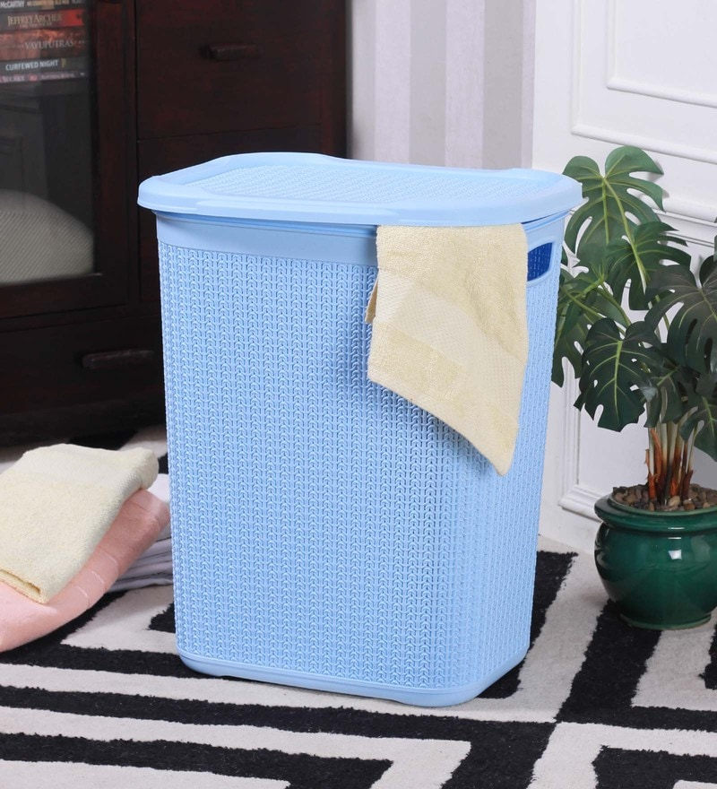 All Time Cresta Knit Plastic 50 L Pastel Blue Laundry Basket with Lid