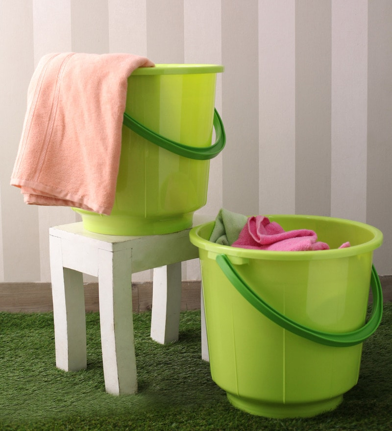 All Time Plastic 20 L Green Buckets with Handle - Set of 2