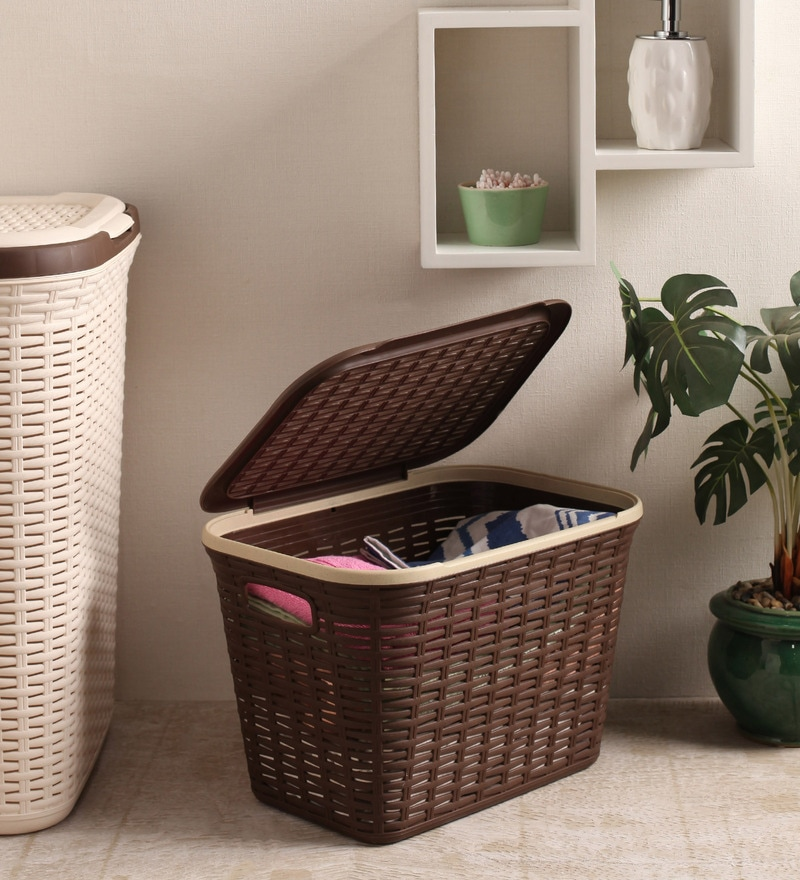 All Time Plastic Brown 20 L Cresta Rectangular Basket