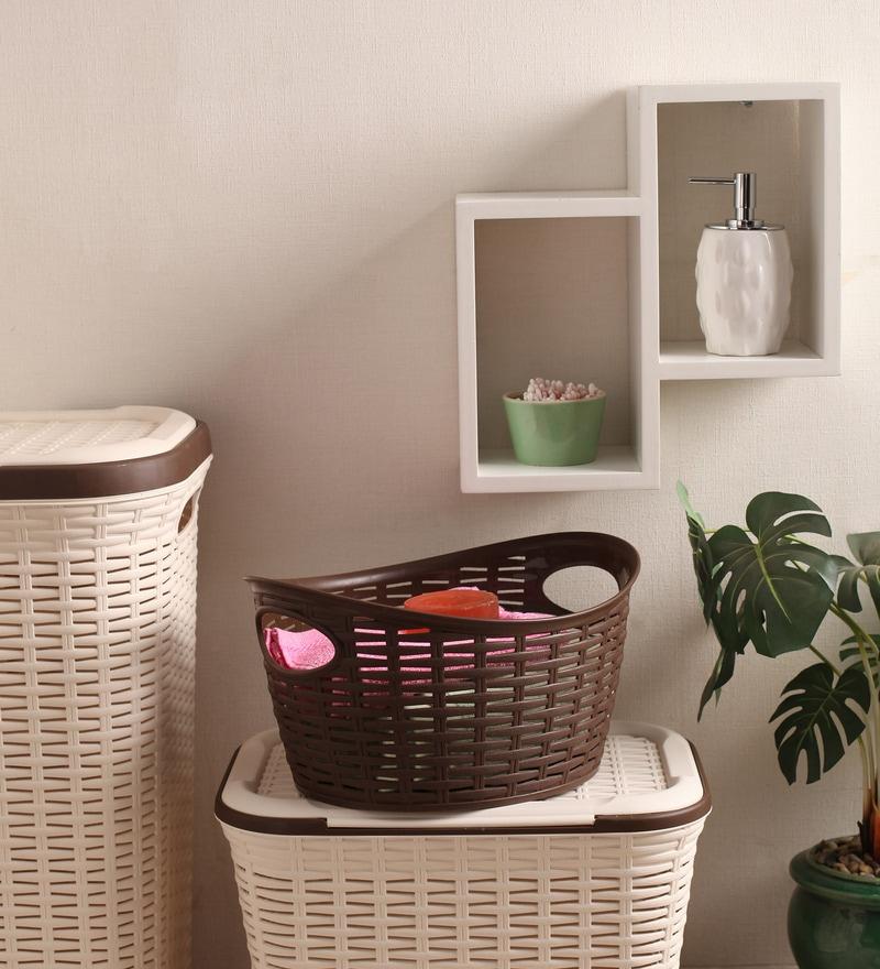 All Time Plastic Brown 9 L Cresta Oval Basket