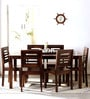Alicante Six Seater Dining Set in Provincial Teak Finish by Woodsworth
