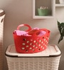 All Time Plastic Red 500 ML Tote Basket - Set of 3