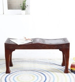 Ambar Handcrafted Small Bench in Honey Oak Finish