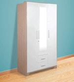 Ambra Three Door Wardrobe with Mirror in White Finish