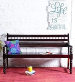 Maurya Handcrafted Bench in Passion Mahogany Finish