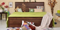 Amaia Queen Bed with Storage in Columbia Walnut Finish