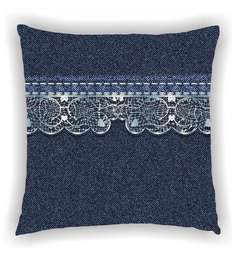 Ambbi Collections Multicolour Satin 16 X 16 Inch Denim Look With Floral Lace Look In Top Cushion Cover