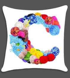 Ambbi Collections Multicolour Satin 16 X 16 Inch Digitally Printed Alphabet Design Cushion Cover