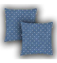 Ambbi Collections Blue Satin 16 X 16 Inch Digitally Printed Denim Look & Stars Over It Cushion Cover - Set Of 2