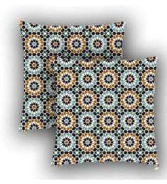 Ambbi Collections Multicolour Satin 16 X 16 Inch Digitally Printed Geometric Flowers Cushion Cover - Set Of 2