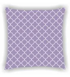 Ambbi Collections Purple And White Satin 16 X 16 Inch Digitally Printed Geometric Jaal Design Cushion Cover