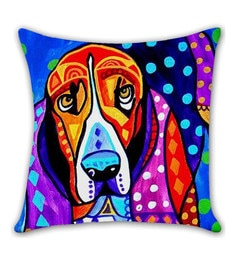 Ambbi Collections Multicolour Satin 16 X 16 Inch Digitally Printed Hand Drawn Dog Cushion Cover
