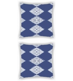 Ambbi Collections Multicolour Satin 16 X 16 Inch Digitally Printed Of Look Ikat Print Cushion Cover - Set Of 2