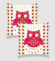 Ambbi Collections Multicolour Satin 16 X 16 Inch Digitally Printed Running Stitch Background, Floral Stripes & Owl Cushion Cover - Set Of 2
