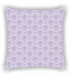 Ambbi Collections Purple And White Satin 16 X 16 Inch Digitally Printed Traditional Design Cushion Cover