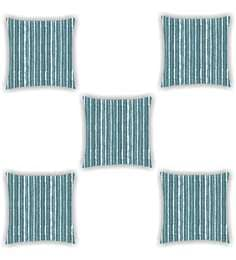Ambbi Collections Multicolour Satin 16 X 16 Inch Dyed Stripe Look Cushion Cover - Set Of 5