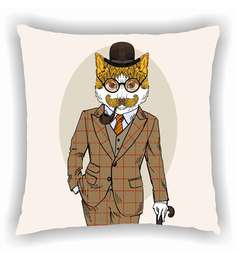 Ambbi Collections Multicolour Satin 16 X 16 Inch Smartly Dressed Cat Clipart Cushion Cover