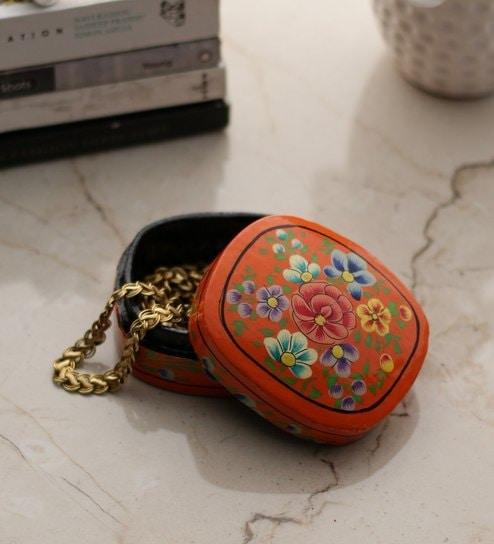 Buy AmazingHind Orange Floral Paper Mache Box Online Decorative Adorable Decorative Paper Mache Boxes